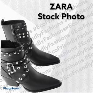 ZARA HEELED LEATHER ANKLE BOOTS W/STRAPS AND STUDS